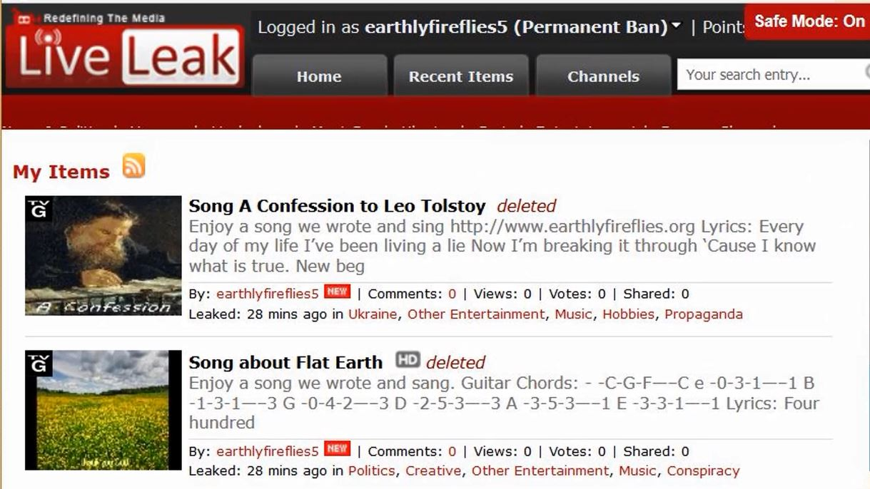 Why LiveLeak com bans our songs  | Earthly Fireflies